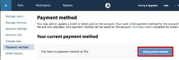 Update credit card