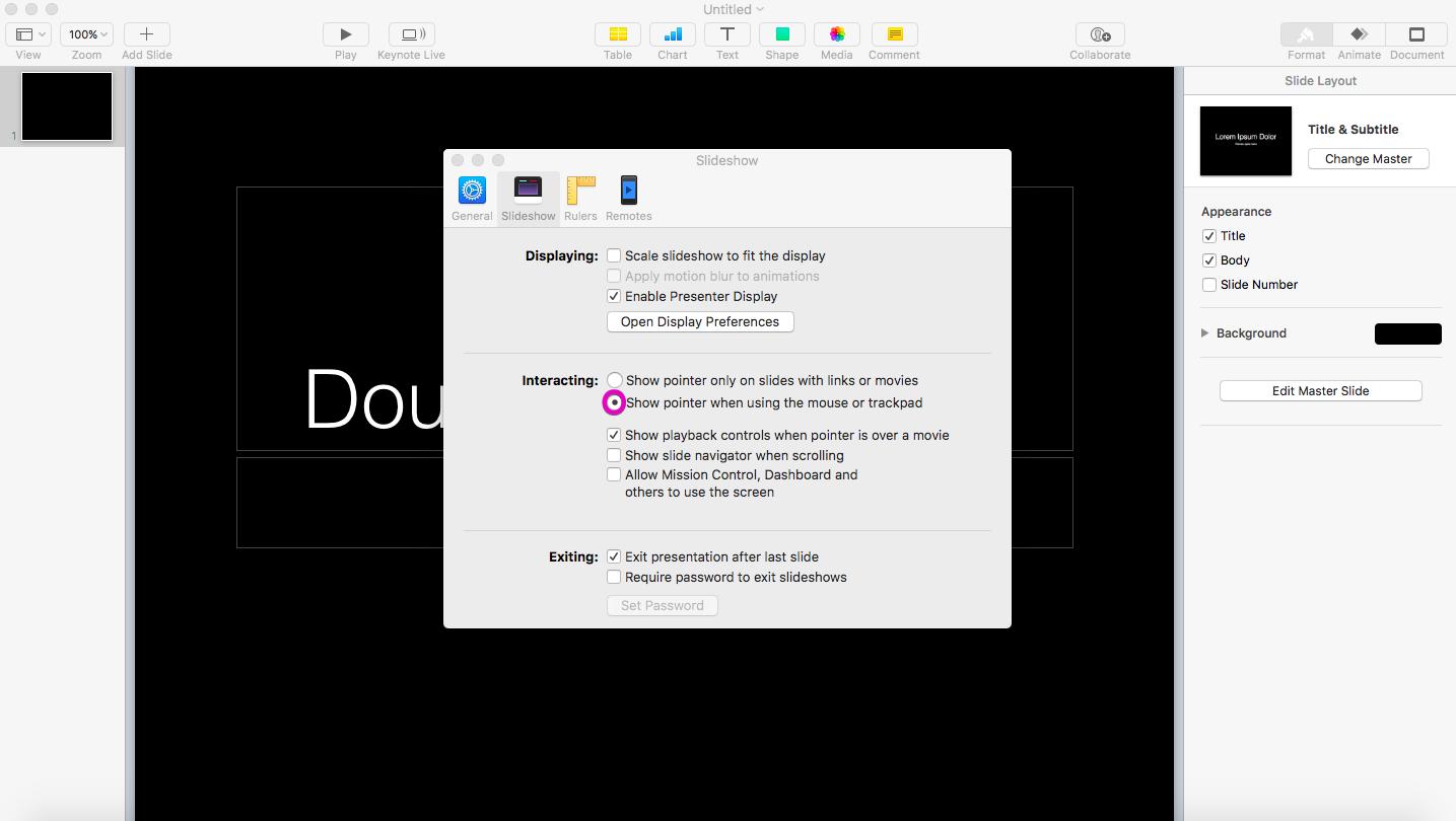 Keynote mouse preferences