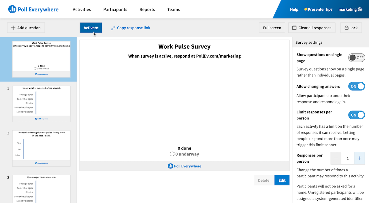 Activating a Survey