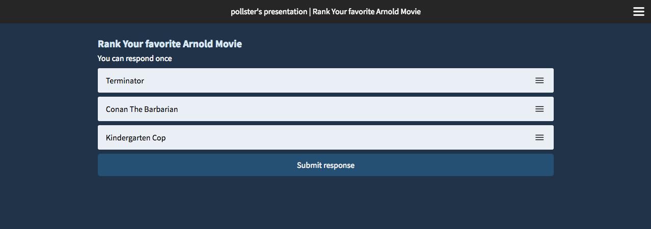 Web response page ranking poll