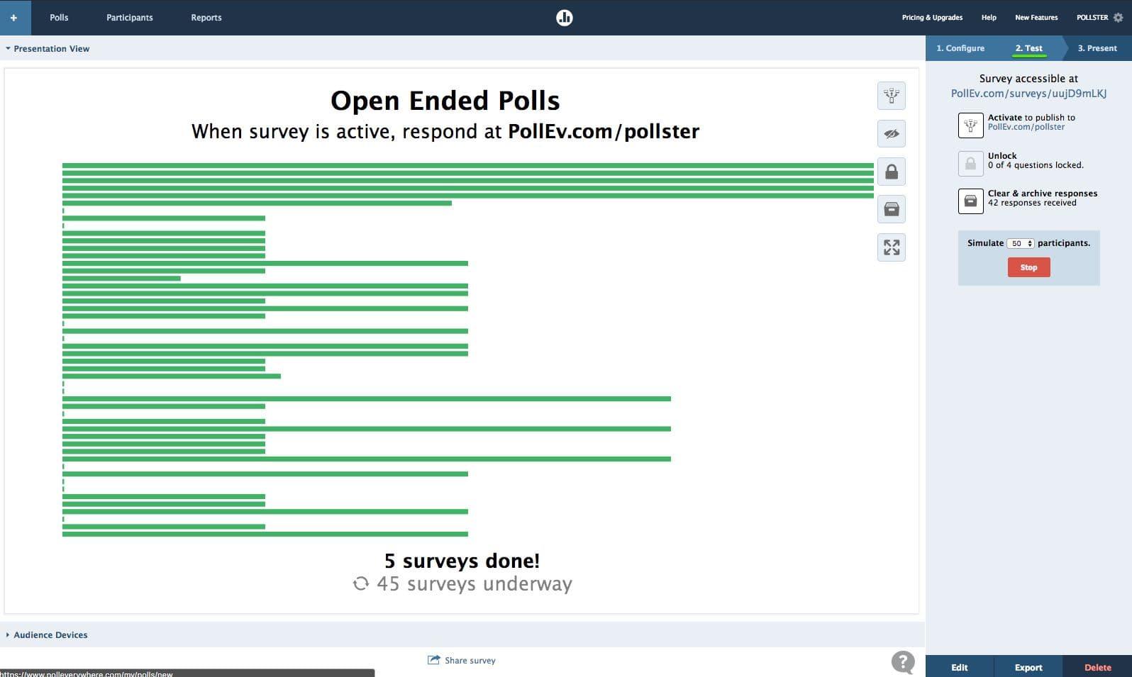 Survey Configure 2. Test