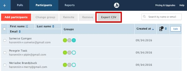 Download participant list CSV