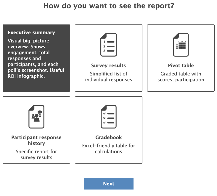 Select report type