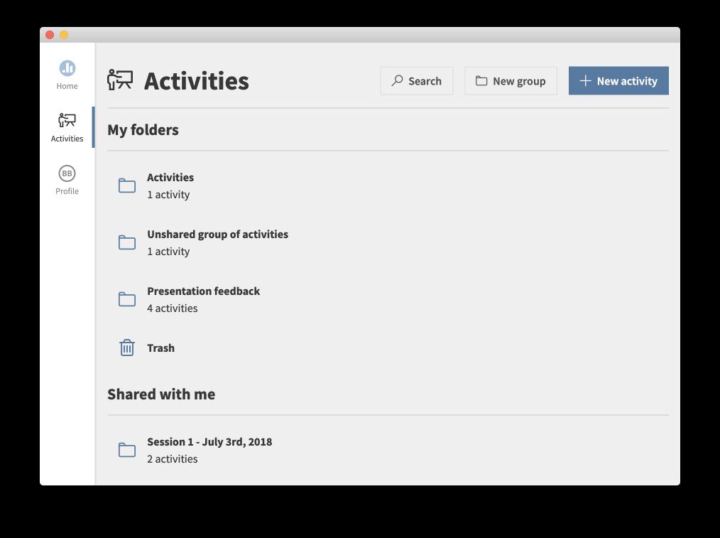 Shared activities folders in presenter app
