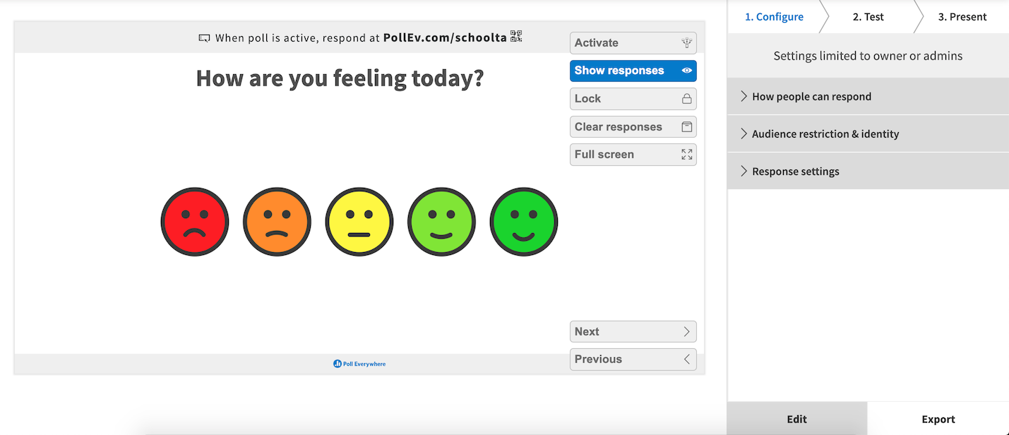 'How are you feeling today?' clickable image activity page