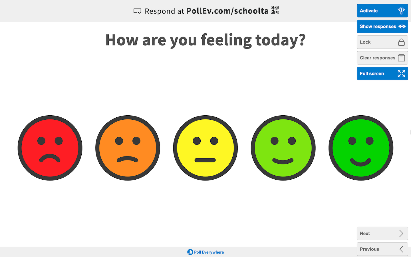 'How are you feeling today?' clickable image activity in full screen