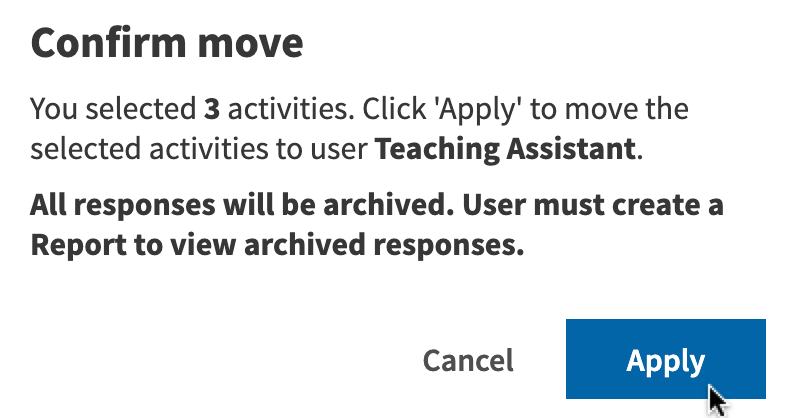 Move confirmation pop-up