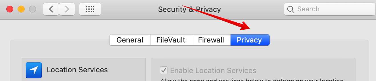 Privacy tab in security and privacy pane