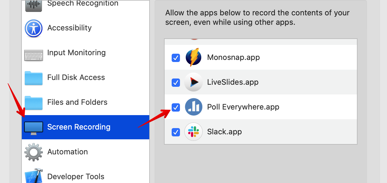 Apps with screen recording permission