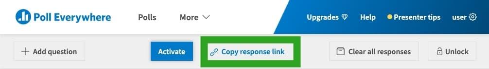 Copy the survey response link