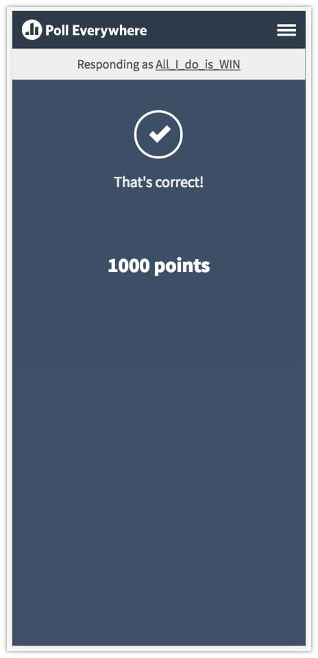 Competitions points screen