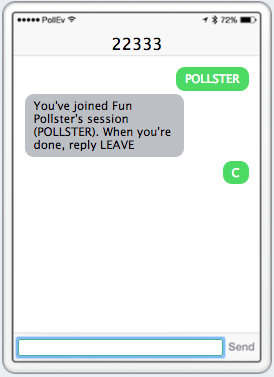 SMS text message response multiple choice poll