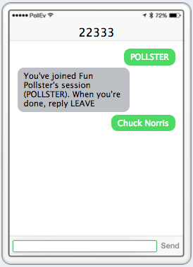 SMS text message response open ended poll