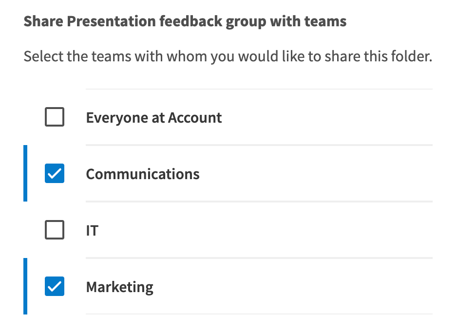 Use checkboxes to share the actvity with your teams