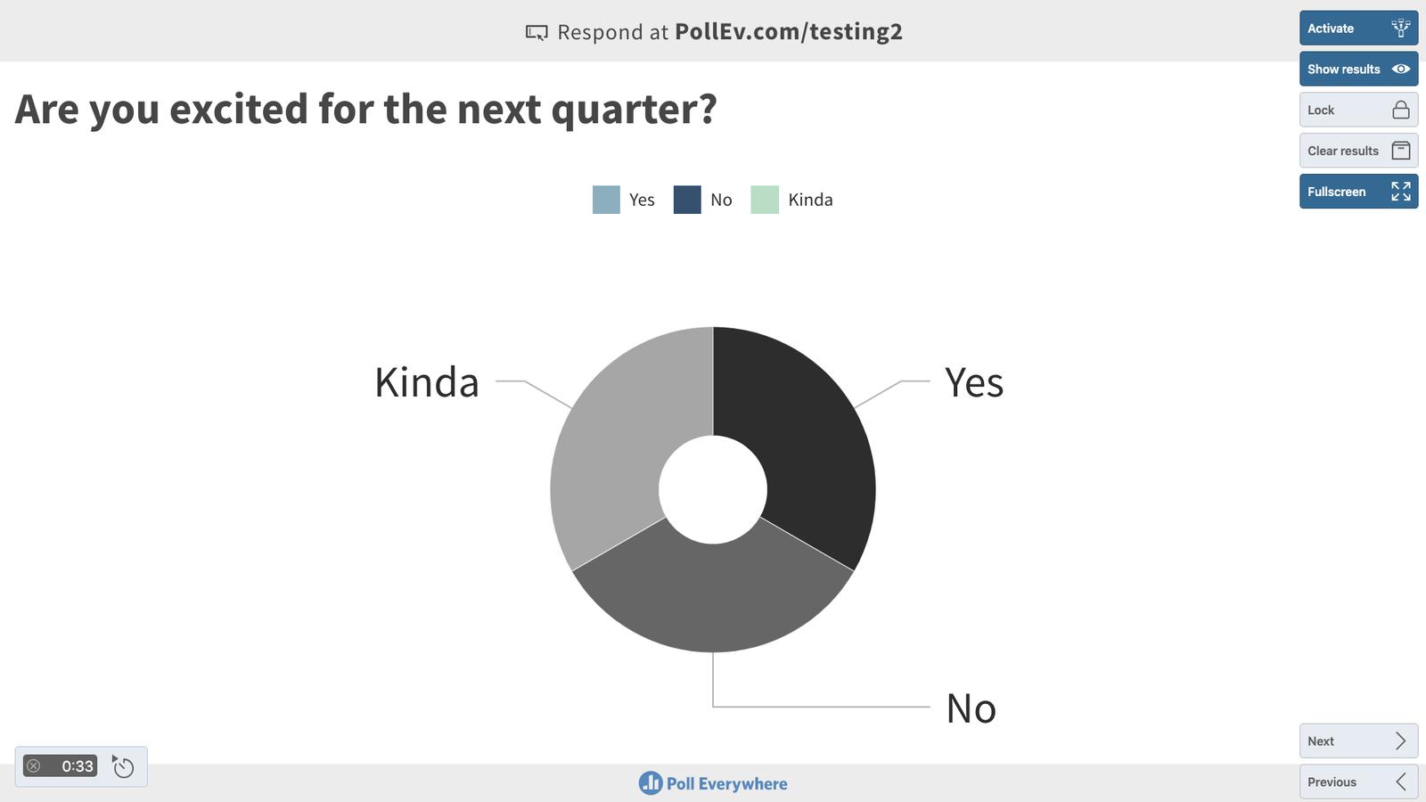 Present the poll in fullscreen