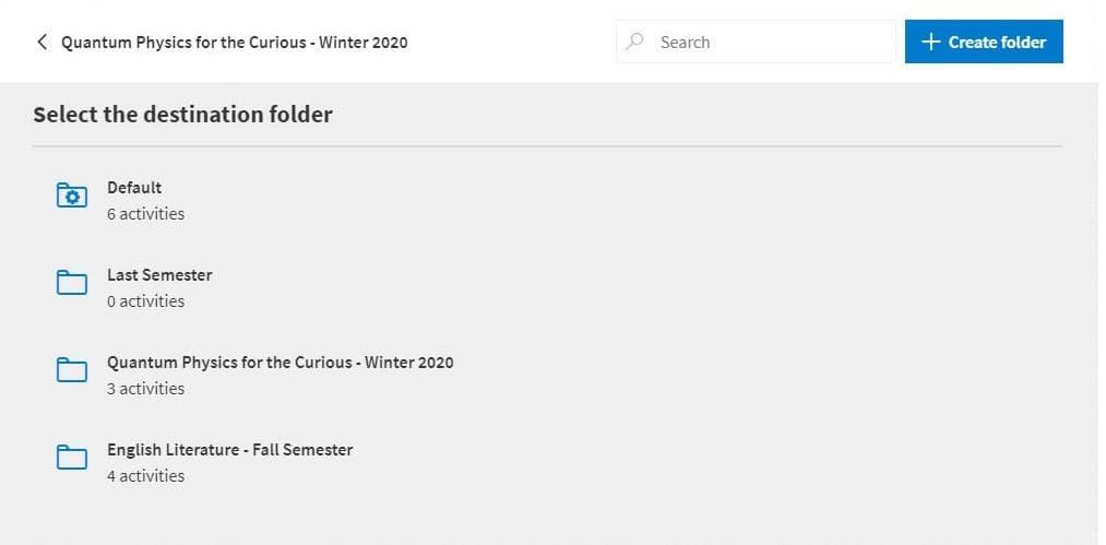 List of folders